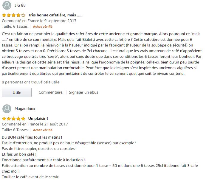 Bialetti Musa Nuova commentaire amazon