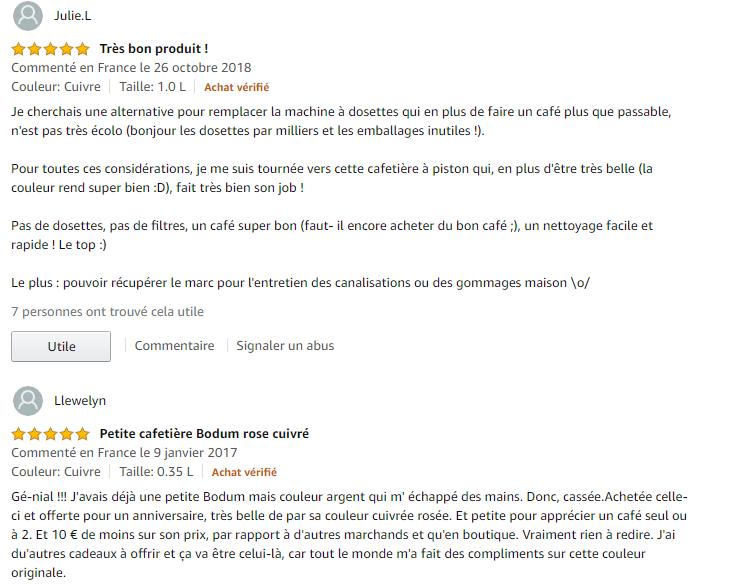 Bodum 1923-18 Chambord commentaire client