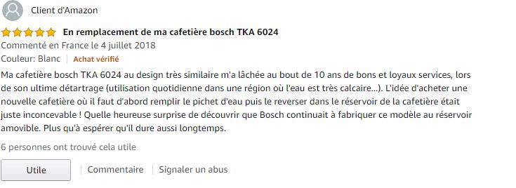 Bosch TKA6A041 avis clients