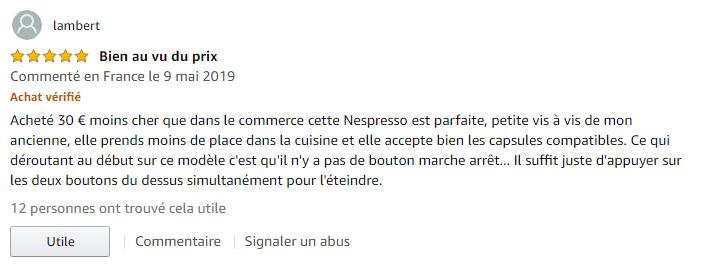 DeLonghi 203549 Inissia Nespresso avis clients