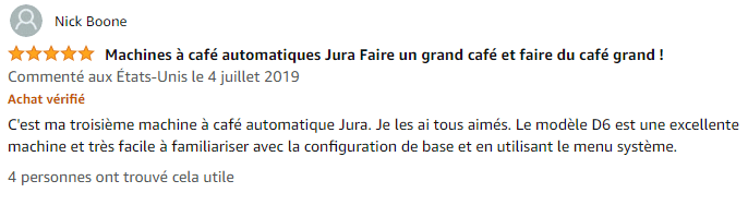Jura D6 Platine avis clients
